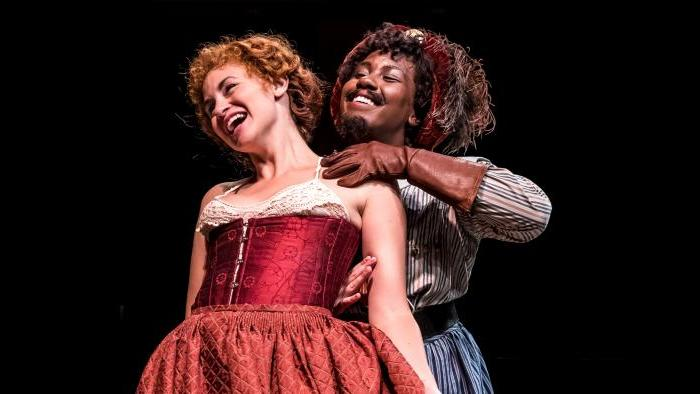 """Actors Alexandra Henrikson and Crystal Lucas-Perry in Chicago Shakespeare Theater's production of """"The Taming of the Shrew."""" Barbara Gaines directs. (Photo: Liz Lauren)"""