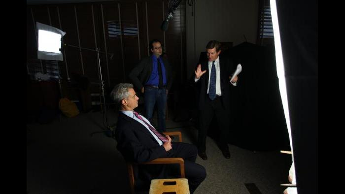 Chris Whipple and Rahm Emanuel (Photo by David Hume Kennerly)