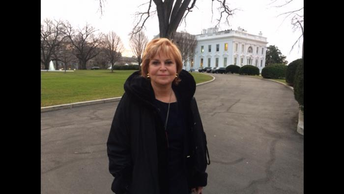 Carol Marin in front of the White House on Thursday. (Don Moseley)