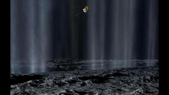 Geysers on Saturn's moon Enceladus (Courtesy of NASA)