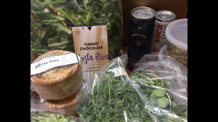 A sample farmers market to-go box. (Courtesy of Closed Loop Farms)