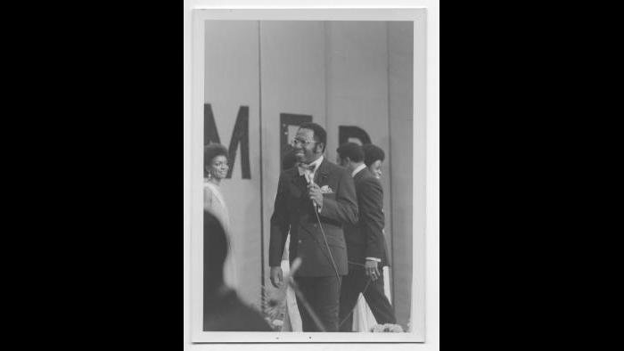 Curtis at the Miss Black America pageant 1969. (Courtesy the author's collection)
