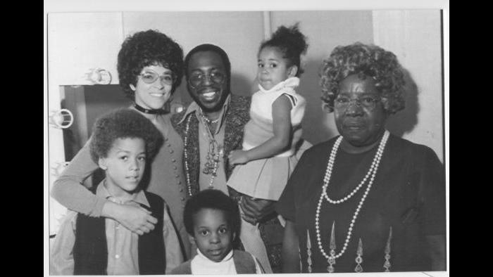 Backstage before a concert, circa 1973. From left, Curtis's partner Diane and her son Tracy; Curtis, daughter Sharon, and son Todd; and Grandma Sadie. (Courtesy the author's collection)