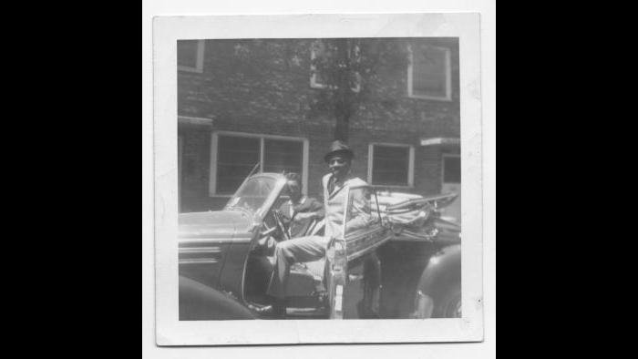 Curtis at age 18 with his first car, a 1952 Mercedes, at Cabrini-Green in 1960. (Courtesy the author's collection)
