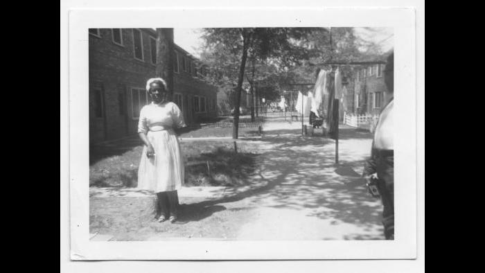 Curtis's mother, Marion, outside the family's Cabrini-Green home, Chicago 1963. (Courtesy the author's collection)