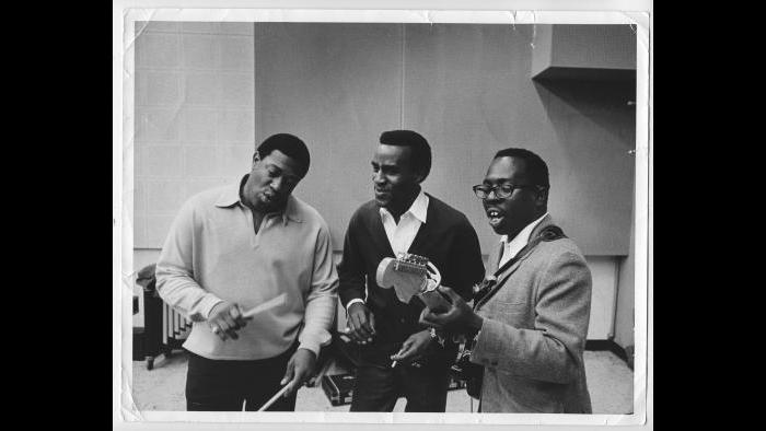The Impressions rehearsing in the studio, Chicago circa 1965. (Courtesy the author's collection)