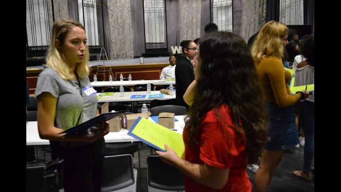 Patricia Nowak (left) and Annabelle Garcia discuss their values. (Kristen Thometz / Chicago Tonight)