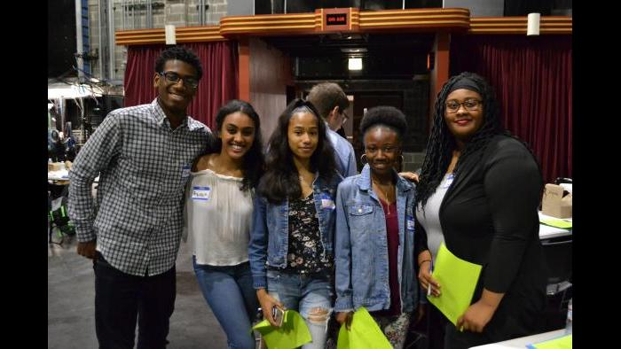 From left: Jordan Dunlap, Arsima Araya, Ashanti Frizer, Jamaica Spencer and Allure Dyer pose for a picture. (Kristen Thometz / Chicago Tonight)