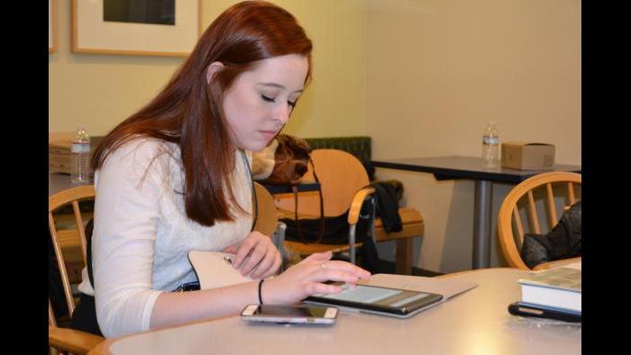 Mikva Challenge student Carina Collins registers to vote. (Kristen Thometz / Chicago Tonight)