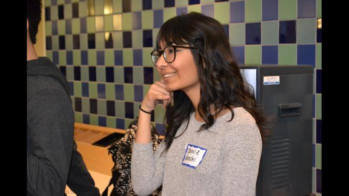 Mikva Challenge student Zainie Qureshi role play as a campaigner. (Kristen Thometz / Chicago Tonight)