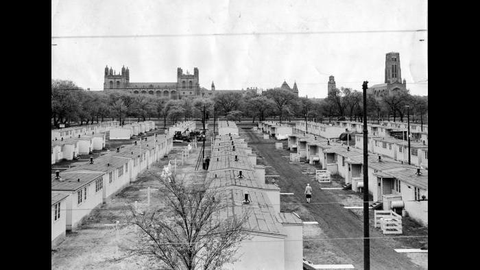 Veteran Housing on the Midway, 1946. The University dealt with the housing shortage following the WWII by erecting 201 prefabricated units of two and three rooms on the Midway. They were available to student veterans at a cost of $40-45 per month, which included electricity, fuel for heat and cooking, and garbage disposal.