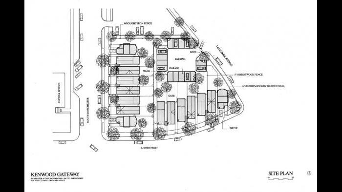 Kenwood Gateway, 1986-1994. Swan prepared a site plan in which the residences turn their backs to heavily travelled Lake Park Avenue.