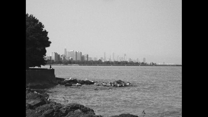 """As it did in the aftermath of the great fire, Chicago's downtown business district has once again experienced a renaissance; today its architecture is renowned worldwide. The city center rises in the distance in this image taken south of Hyde Park's beloved """"Point."""" Construction during the '30s as an extension of Daniel Burnham's plan for lakefront improvements, the Point was landscaped by Alfred Caldwell, an architect influenced by Jens Jensen and the concepts of Frank Lloyd Wright."""