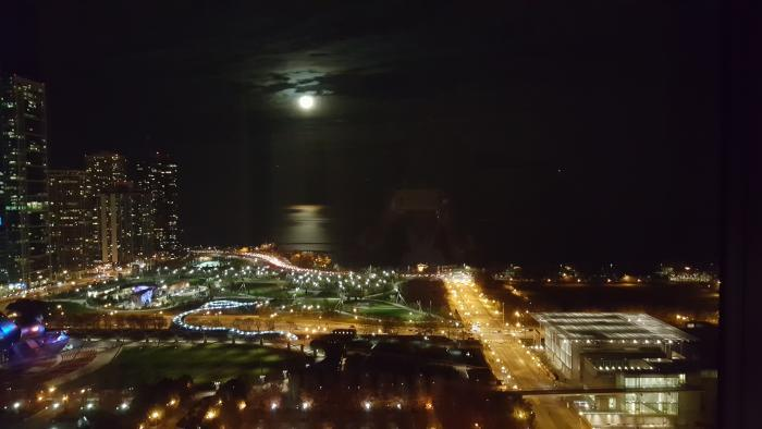 Photo by Deborah Chipman: Supermoon over the Chicago lakefront taken from our condo at Millennium Park (captured Monday 11/14/16 on my cell phone)