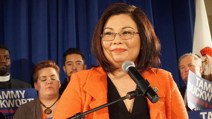 Duckworth speaks to supporters on Tuesday night after winning the Democratic Senate primary. (Alex Silets)