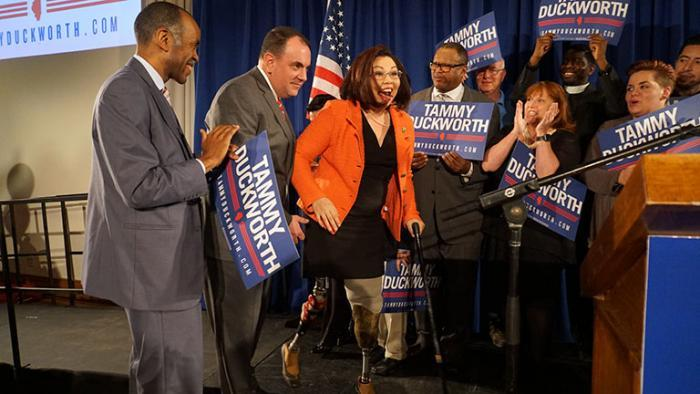Duckworth greets supporters after her Tuesday night victory. (Alex Silets)