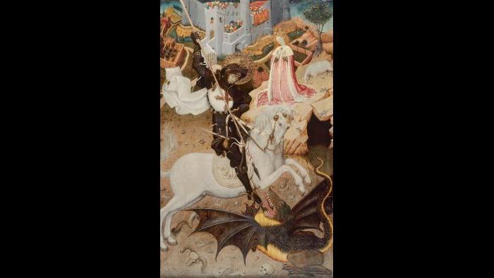"Bernat Martorell. ""Saint George Killing the Dragon,"" 1434/35. The Art Institute of Chicago, Gift of Mrs. Richard E. Danielson and Mrs. Chauncey B. McCormick."