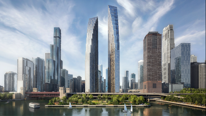 Rendering of Related Midwest's plan for the former Spire site, with DuSable Park in the foreground. (Courtesy of Chicago Department of Planning and Development)