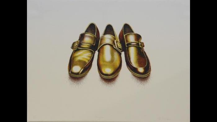 Ed Paschke, Hairy Shoes, 1971. (Courtesy of the Illinois State Museum Fine Art Collection)