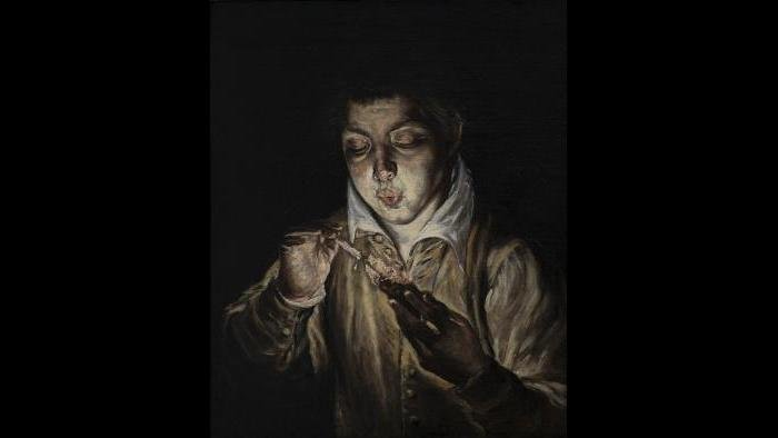 "El Greco (Domenikos Theotokopoulos). ""A Boy Blowing on an Ember to Light a Candle (El Soplón),"" about 1570. Colomer Collection, Madrid."