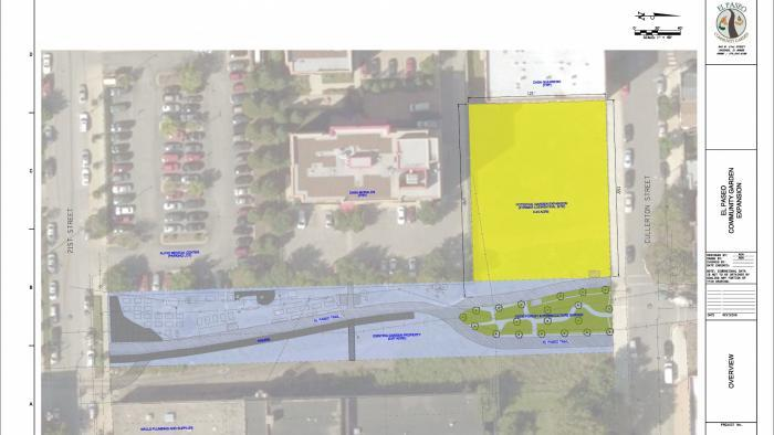 El Paseo is expanding to a bordering lot, shown in yellow. (Courtesy of El Paseo Community Garden)