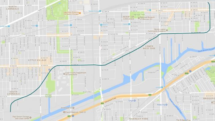 A map of the proposed four-mile Paseo Trail. El Paseo garden is situated near the northeast terminus. (WTTW Interactive)