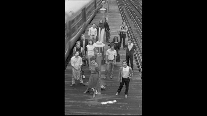 "Cast members post on the CTA ""L"" platform. (Courtesy Steppenwolf Theatre)"