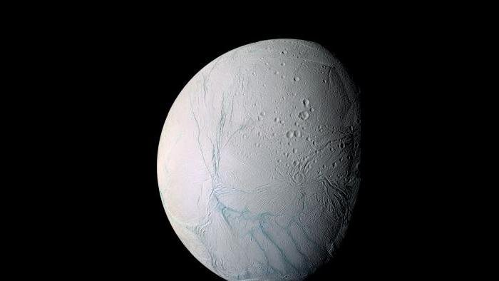 Saturn's moon Enceladus (Courtesy of NASA)