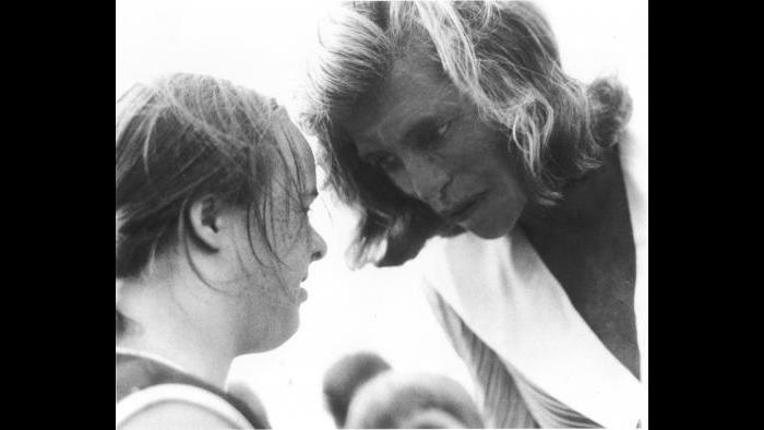 Eunice Kennedy Shriver coaching an athlete. (Courtesy Special Olympics)