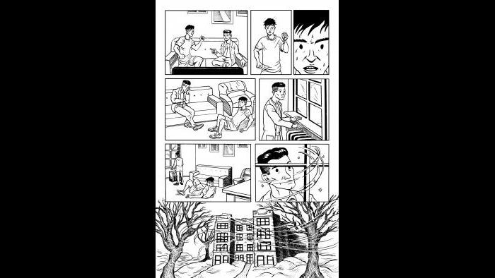 """Page 62 of """"F*cking Forty"""" by Jason Franks and inked by Greg Vondruska. (Courtesy of F*cking Forty)"""