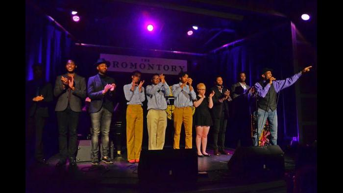 Performers gather on stage at the Chicago Actors' Call to Action event to benefit the NAACP Chicago South Side branch. (Suzanne Plunkett)