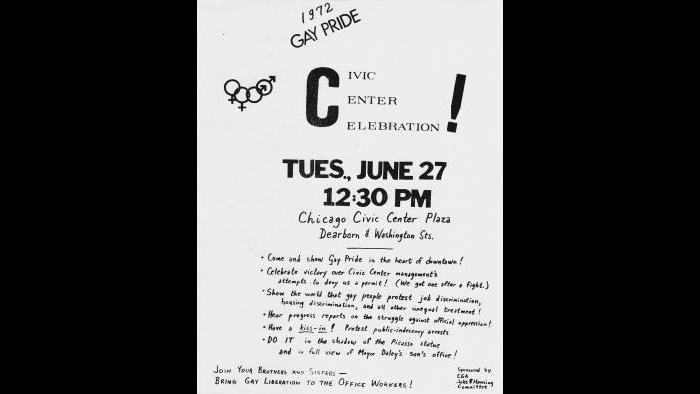 Chicago Gay Alliance flyer for Pride event, 1972. (Courtesy of William B. Kelley)