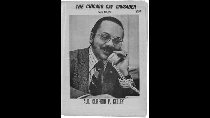 Alderman Clifford P. Kelley, sponsor of proposed gay-rights ordinance, on the cover of the Chicago Gay Crusader, January 1973. (Courtesy of Manuscripts and Archives Division, The New York Public Library, Astor, Lenox, and Tilden Foundations)