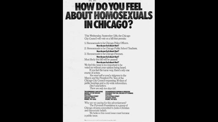 Full-page antigay print advertisement paid for by the Plymouth Foundation, September 1979.