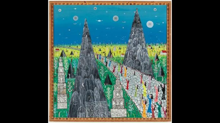 Howard Finster (American, 1916-2001). Visionary Landscape #4,494, 1985. Paint on wood, 48 x 48 in. (121.9 x 121.9 cm). Collection of Victor F. Keen