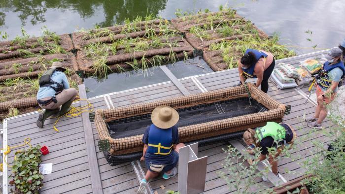 Floating habitat, under construction. (Shedd Aquarium / Brenna Hernandez)