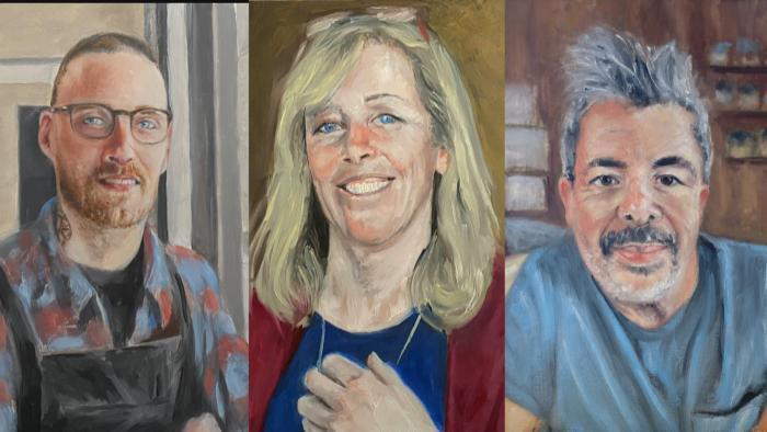 Portraits by Evanston artist Chris Froeter. (WTTW News)