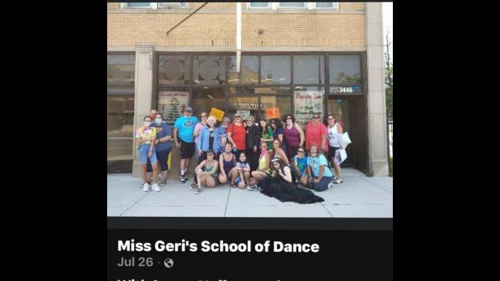 Participants in a car parade to celebrate the dance studio gather outside of Miss Geri's. (Courtesy of Cheryl Morris)