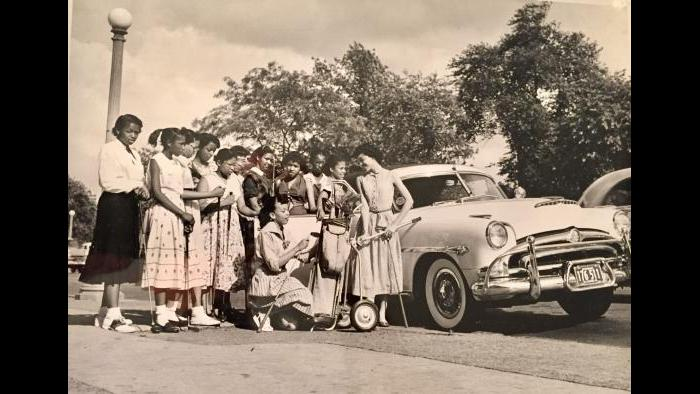 "The ""Bob-O-Links"" are the junior division of the Chicago Women's Golf Club. These are the first Bob-O-Links, ca 1954."