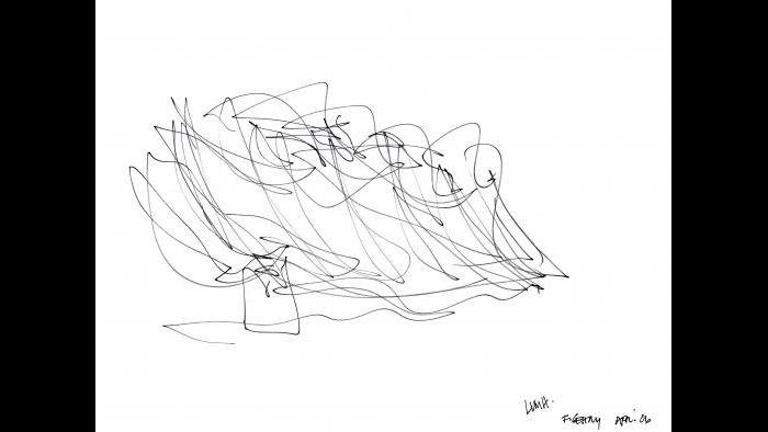Gehry's sketch for the Louis Vuitton Foundation in Paris. (Gehry Partners LLC / Fondation Louis Vuitton)