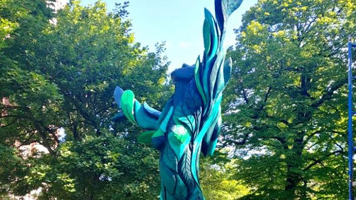 """Tree art is ephemeral, said sculptor Gary Keenan. Trees will eventually rot, colors will fade (though a neighborhood artist has volunteered to touch up """"Green Lady""""). """"Nothing lasts forever. If people get any enjoyment or appreciation from this, it's worth it,"""" Keenan said. (Gary Keenan)"""