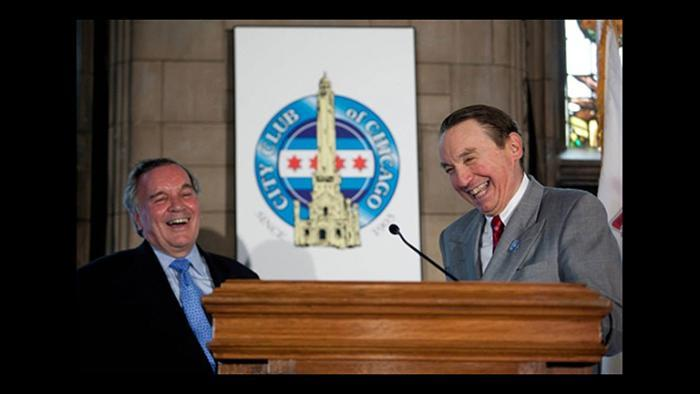 Paul Green, right, and Mayor Richard M. Daley. (Courtesy City Club of Chicago)
