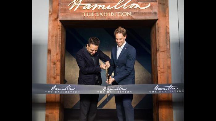 "Lin-Manuel Miranda and David Korins open ""Hamilton: The Exhibition"" in Chicago. (Credit: Justin Barbin Photography)"