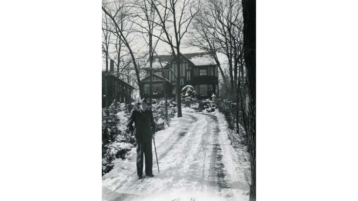 Paul Harris at the bottom of the driveway outside his Morgan Park home. (Courtesy Rotary International)