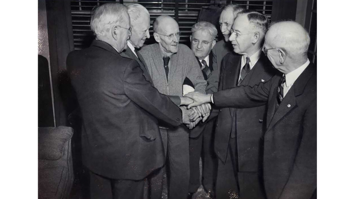 A reunion in Harrises' home of many of the early members of the Rotary Club of Chicago. (Courtesy Rotary International)