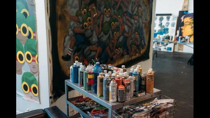 Hebru Brantley's studio. (Photo: Max Schreier)