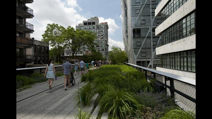 The High Line in New York City used to be an elevated railroad line.