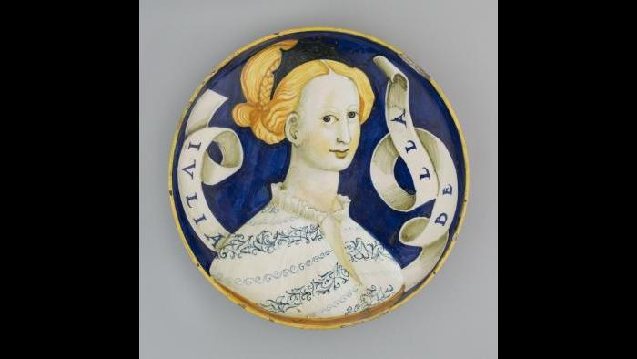 """Dish (Coppa Amatoria),"" about 1530/45. Italian, Urbino or Castel Durante. The Art Institute of Chicago, Mr. and Mrs. Martin A. Ryerson Collection."