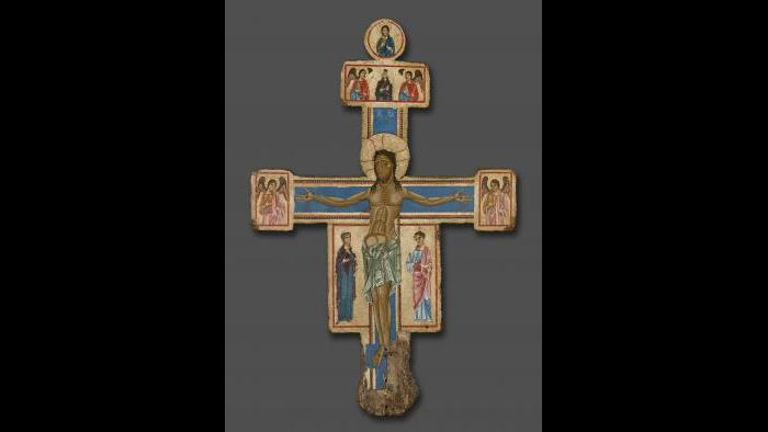 """Master of the Bigallo Crucifix. """"Crucifix,"""" 1230/1240. The Art Institute of Chicago, A. A. Munger Collection."""