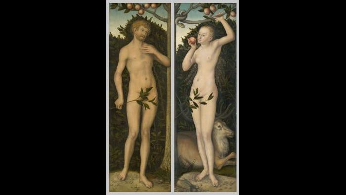 "Lucas Cranach the Elder. ""Adam and Eve,"" 1533/37. The Art Institute of Chicago, Charles H. and Mary F. S. Worcester Collection."